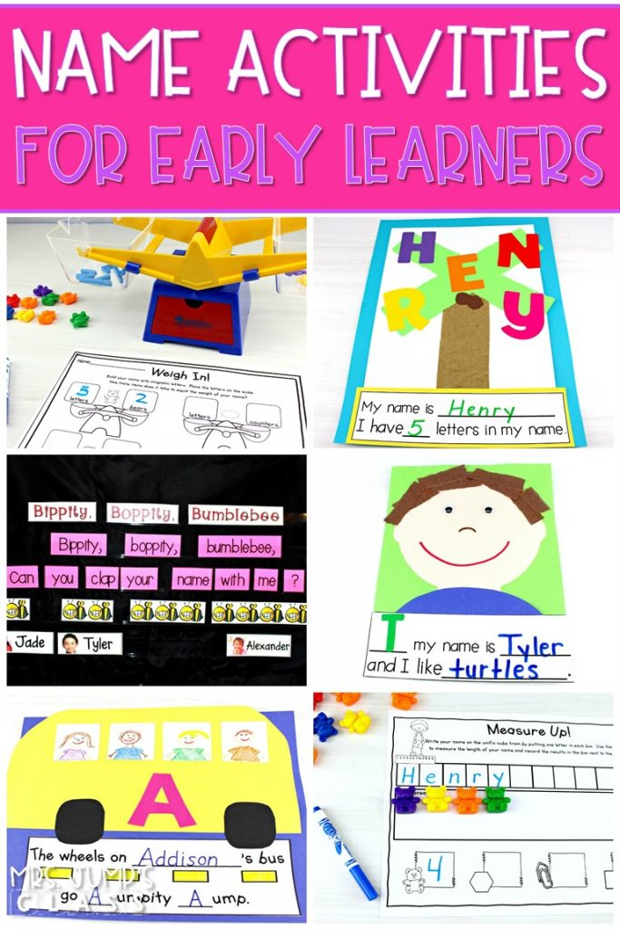 Name activities for early learners. Students will have fun practicing their names with these math and literacy activities that are great for back to school! #nameactivities #kindergartencrafts #backtoschool #earlylearners
