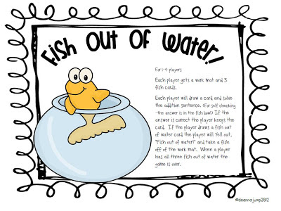Fish Out of Water! Math Game FREEBIE!!