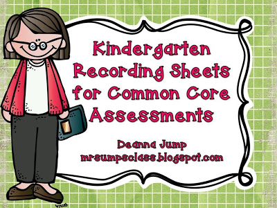FREE Kindergarten Common Core Recording Sheets for Assessment
