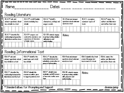 Kindergarten Common Core Recording Sheets For Assessment