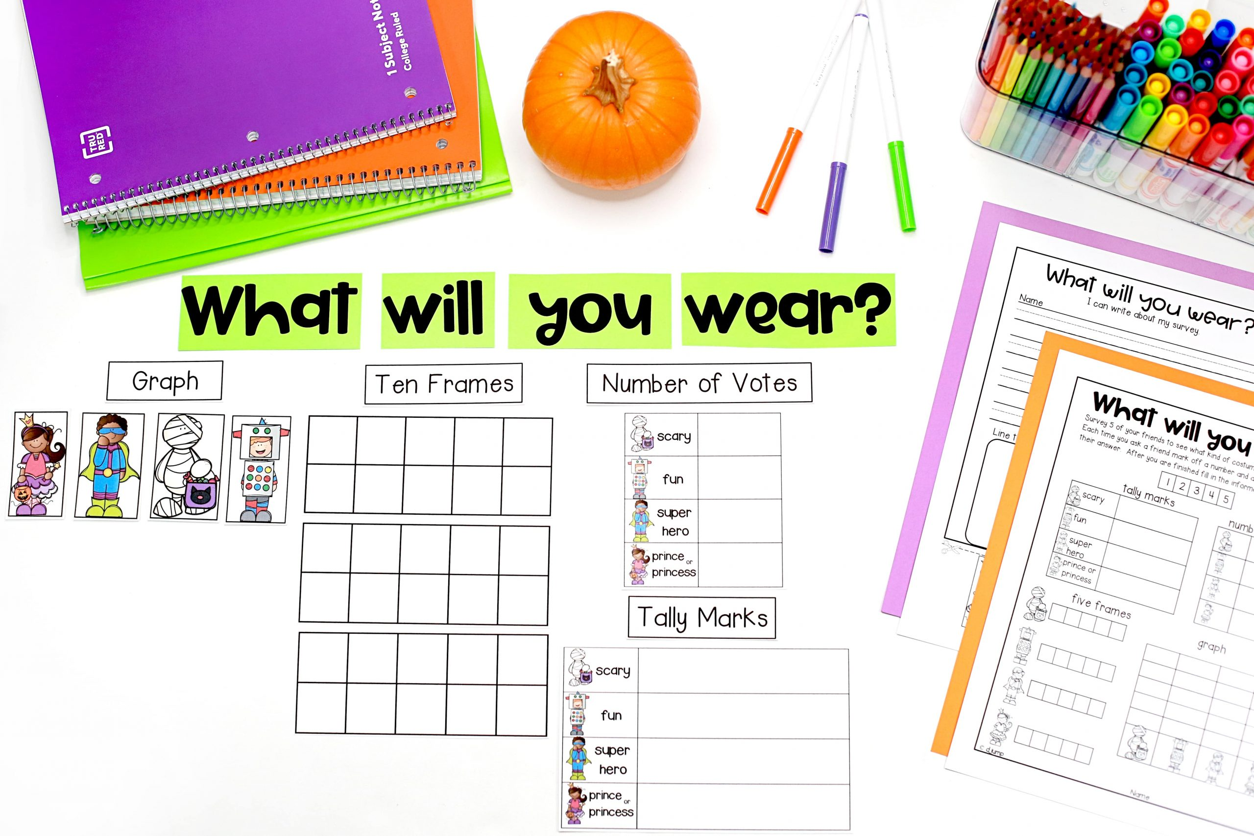 Halloween Classroom Activities for kindergarten and first grade! If you're looking for a Halloween unit math and literacy activities labeling sheet, you can get it from this blog post for free.