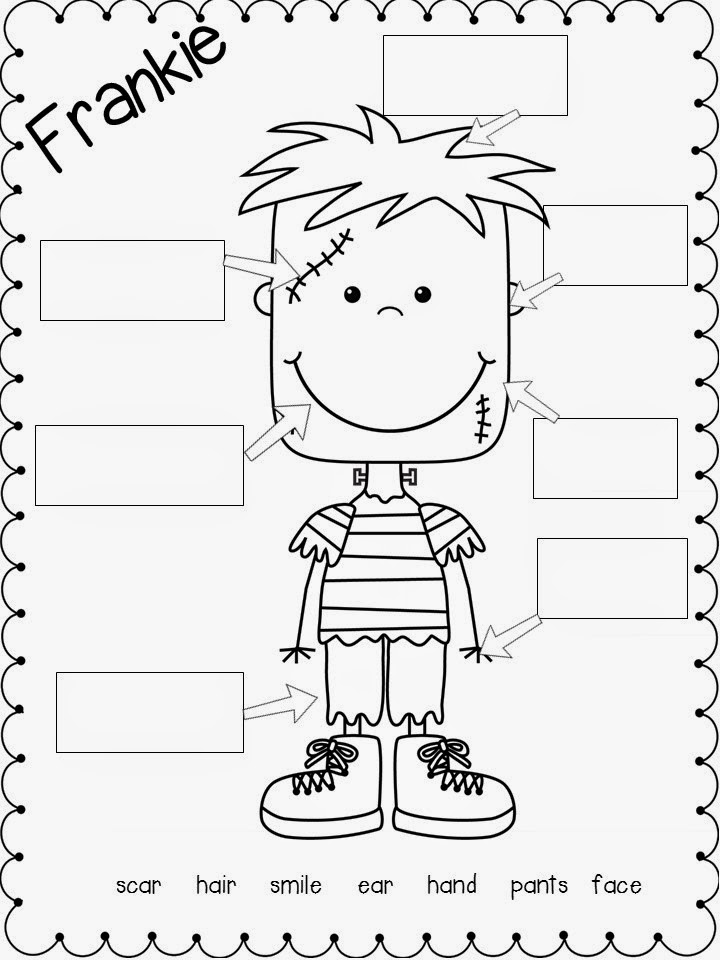 Free Halloween math & literacy activities labeling sheets