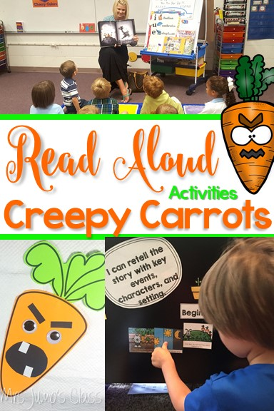 Creepy Carrots Read Aloud Lessons for kindergarten and first grade. Students will work on cause and effect, connection, and opinions. STEM and center Activities too!