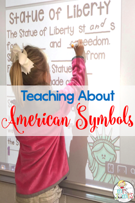 American symbols for kids in kindergarten and first grade with a free activity too!  Crafts, reading comprehension, and writing lesson ideas.