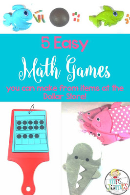 Dollar store math games ideas for kindergarten and first grade. 15 Dollar Store Finds to Use in Your Classroom...Right Away! Here are 5 easy math games you can make from items at the Dollar Store.