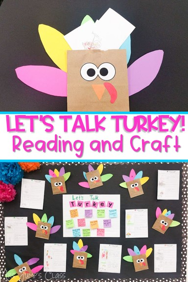 Turkey Trouble reading comprehension activity for kindergarten and first grade. Anchor Chart, Schema lesson, and turkey craft too!