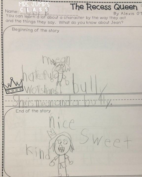 Recess Queen Lesson Ideas for reading comprehension. Crafts, reading responses, and anchor chart to support kindergarten and first-grade students. Art Activity and free download.
