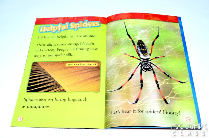 Spider informational text activities for kindergarten and first grade. This is a week long unit of study using a nonfiction book to learn about text features such as the table of contents, labels, captions, and glossary. Your students will love this fun set of lesson plans for your close read!