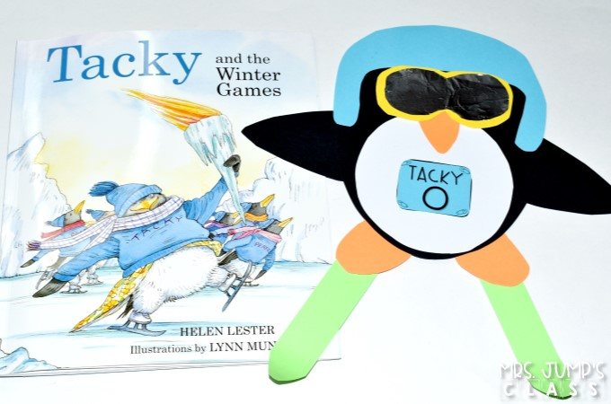 Winter Games Lesson Plans for kindergarten and first grade. Perfect to use during the Winter Olympics. Tacky and the Winter Games by Helen Lester is featured in this blog post. Reading comprehension, retelling, and a craft. Free directed drawing too.