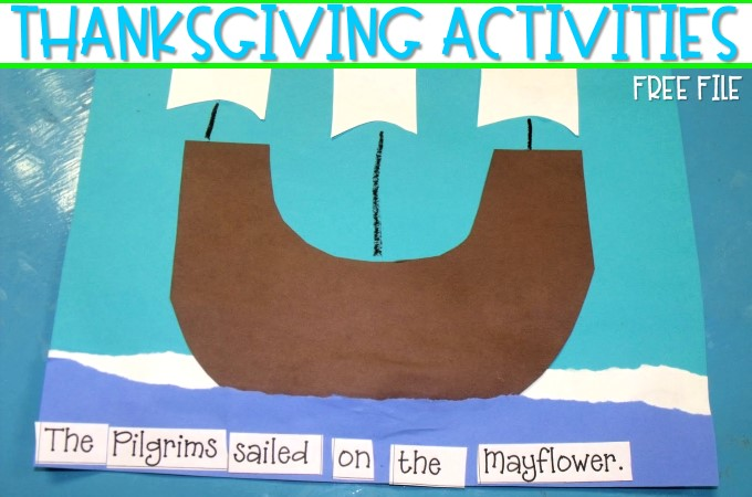Thanksgiving classroom activities for kindergarten and first grade with free files. Turkey in Disguise activity, pilgrims, and other crafts to make Thanksgiving the best EVER!