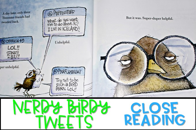 Second Grade Close Reading for Nerdy Birdy Tweets by Aaron Reynolds. Reading comprehension ideas with student response activities. Grammar, vocabulary, and a cute craft too!
