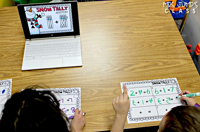 Digital Student Center Activities for kindergarten and first grade classrooms. These paper saving math and literacy skills centers, with response worksheets, will be a classroom favorite.