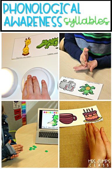 Teaching Phonological Awareness Syllables in kindergarten and first grade. These syllable activities help students to segment words in a fun way!