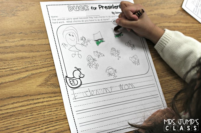 Duck for President reading lessons for kindergarten and 1st grade! This is a great book for President's Day. Reading comprehension, responding to literature, and a fun craft!