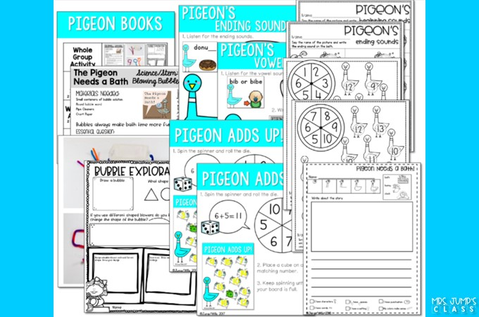 Pigeon books lesson ideas. Fun reading lesson ideas for kindergarten and first grade. Reading comprehension, responding to literature, and word work!