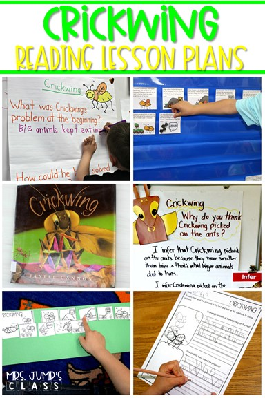 Crickwing reading lesson plans for K-2! 5-day plan with engaging lessons to teach reading comprehension skills using this fun read aloud.