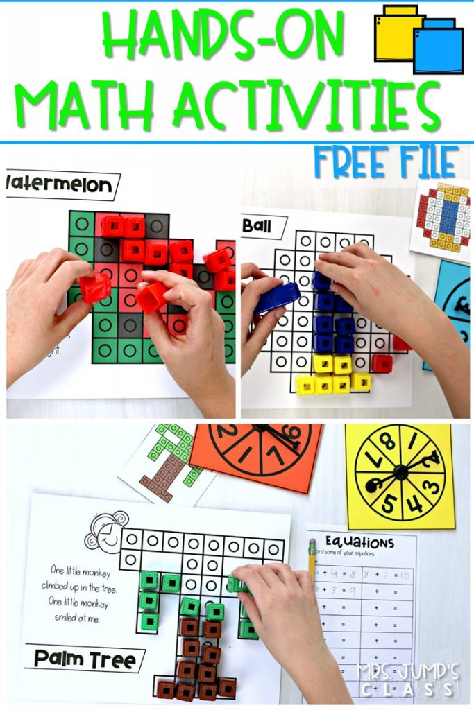 Hands-on math activities for kindergarten and first grade. These math activities using snap cubes can be used independently at any time during the day.