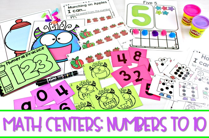 21 Kindergarten math centers to practice numbers to 10. Digital, black & white, and color options that match up to the Common Core Standards.