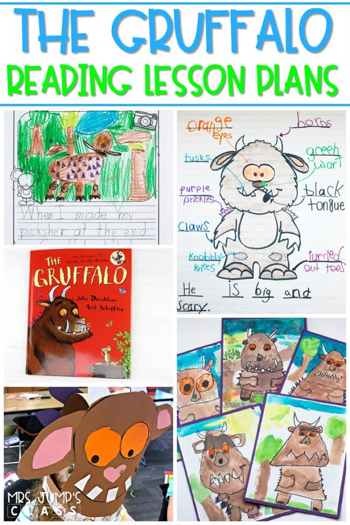 The Gruffalo lesson plans for K-2. Engaging 5-day lesson plans with differentiated reading response, vocabulary, sentence study, and a craft for this fun story! #thegruffalo #readinglessonplans #thegruffalolessonplans
