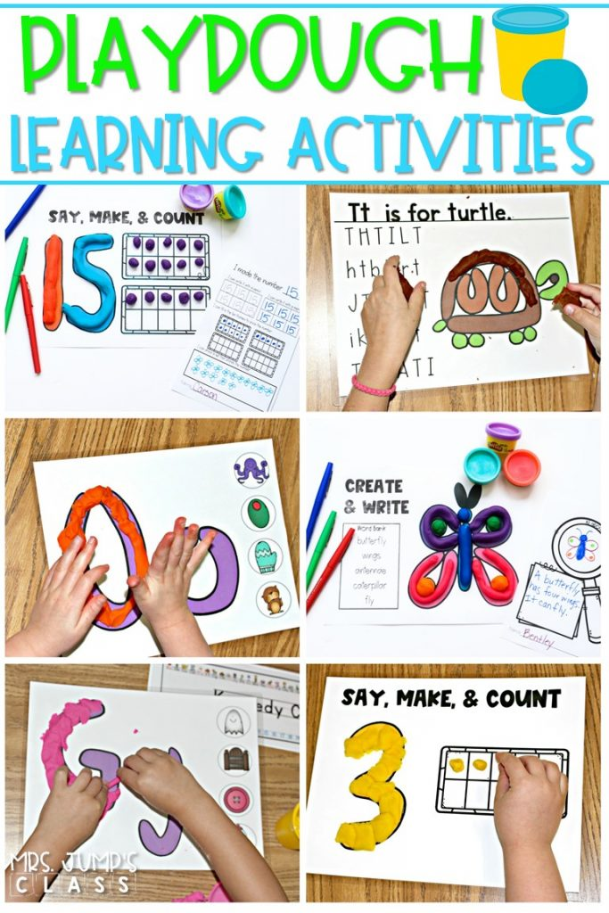 Playdough learning activities for kindergarten and first grade. Students have fun practicing letters, initial sounds, and numbers to 30 with these hands-on learning mats. #playdoughlearningactivities #handsonlearning #playdough