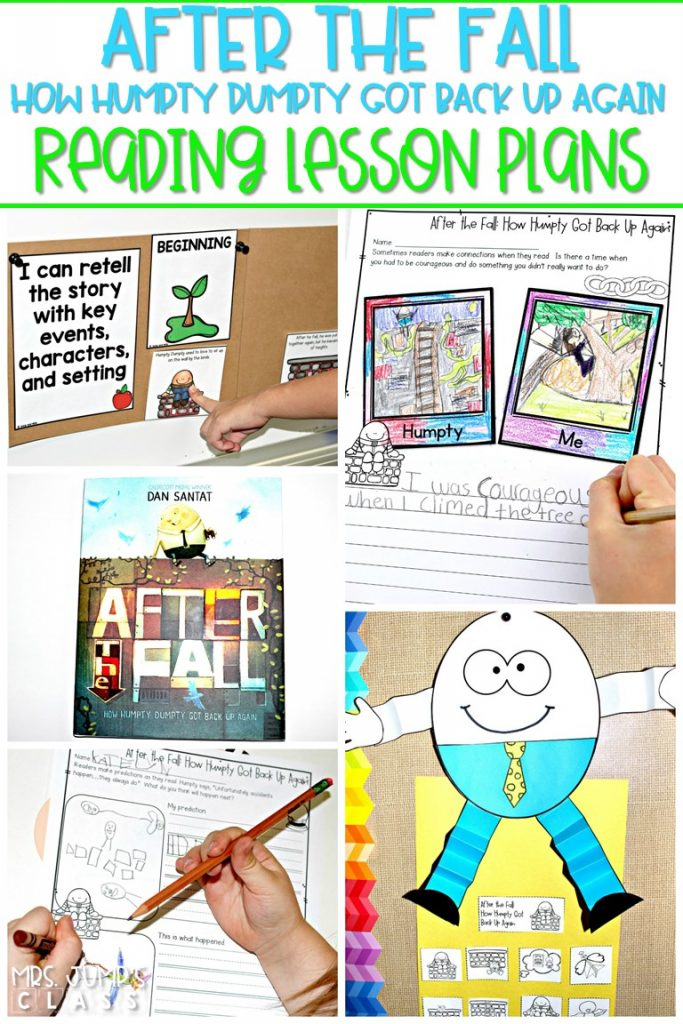 After the Fall (Humpty Dumpty) reading comprehension lesson plans. Students respond to literature while developing reading comprehension strategies, vocabulary, and grammar. #afterthefall #humptydumpty #engagingreaders