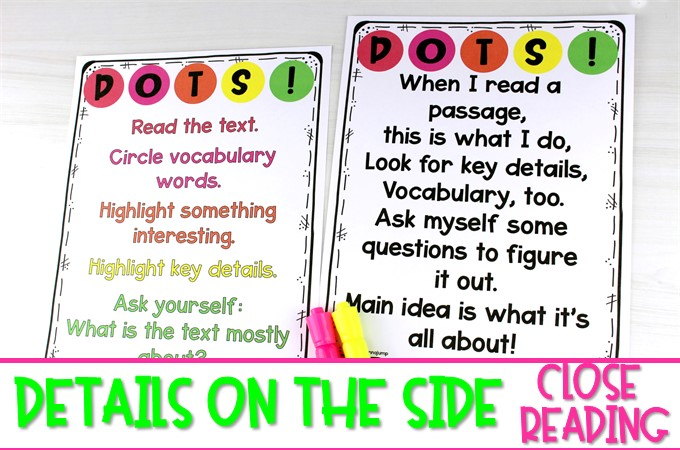 Fall themed close reading passages to teach your primary students how to annotate a text. Your students will love this color-coded method using DOTS!