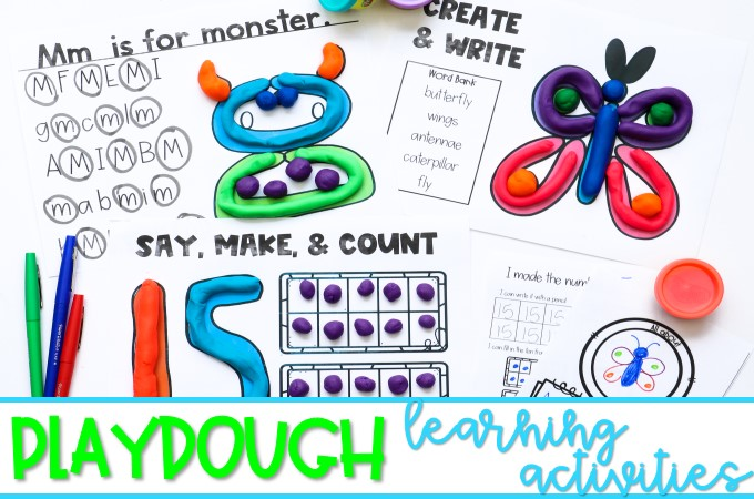 Playdough learning activities for kindergarten and first grade. Students have fun practicing letters, initial sounds, and numbers to 30 with these hands-on learning mats.