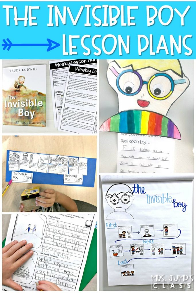 The Invisible Boy read aloud. Reading comprehension lesson plans with student response activities. Vocabulary, grammar, sentence study, and a craft, too! #theinvisibleboy #readaloud #readinglessonplans #engagingreaders