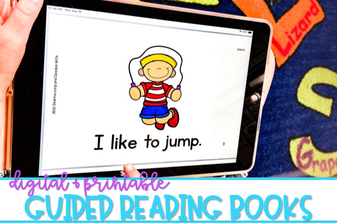 Guided Reading Books available in printable and digital format for K/1. Leveled readers with lesson plans, running records, word work activities, and more!