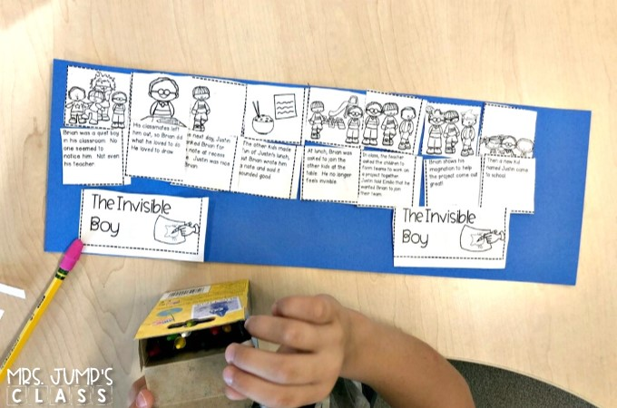 The Invisible Boy read aloud. Reading comprehension lesson plans with student response activities. Vocabulary, grammar, sentence study, and a craft, too!
