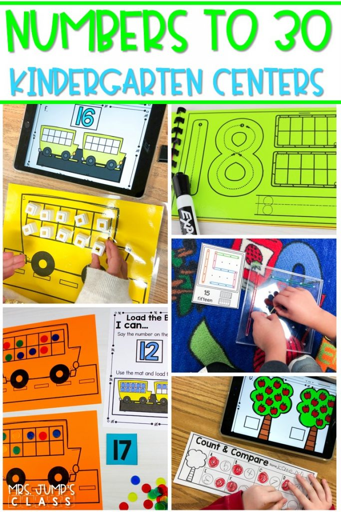Numbers to 30 digital and printable math centers! Numeral writing, counting mats, geoboard number cards, centers, response sheets, and even more! #mathcenters #numbersto30 #kindergartenmath #digitalcenters