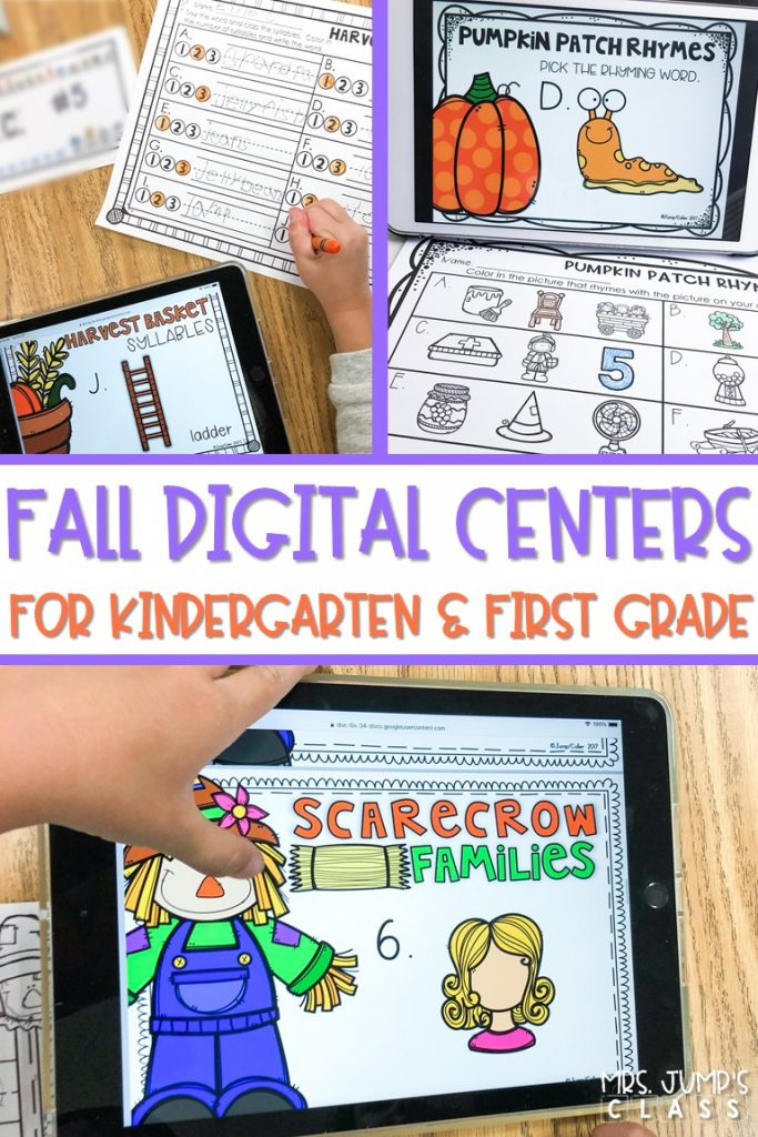 ELA Digital centers that are perfect for the Fall season. Students practice rhyming, syllables, beginning sounds, word families, letter recognition, and more! #digitalcenters #fallcenterideas #technologyintheclassroom