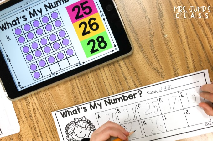 Numbers to 30 digital and printable math centers! Numeral writing, counting mats, geoboard number cards, centers, response sheets, and even more!