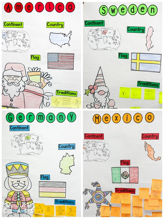 Holidays around the World! Travel around the world and learn about 10 different celebrations. PowerPoints, anchor charts, writing responses, and crafts!