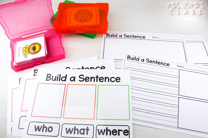 Engaging sentence building activity to teach your students about sentences and their parts. This color-coded resource is perfect for K-1 literacy centers.
