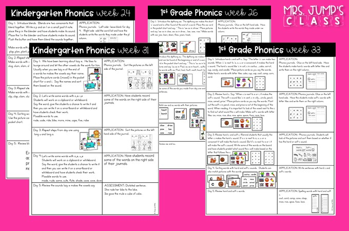 Phonics lessons for the entire year! These printable lessons and activities will make your classroom phonics instruction simple and stress-free.
