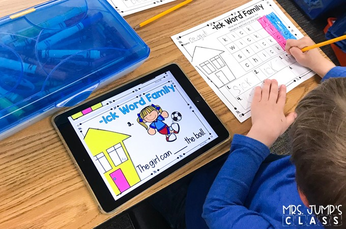 Digital literacy centers for kindergarten and 1st grade to practice ELA skills. Students practice word families, blends, rhyming, syllables, digraphs, vowel sounds, and more!