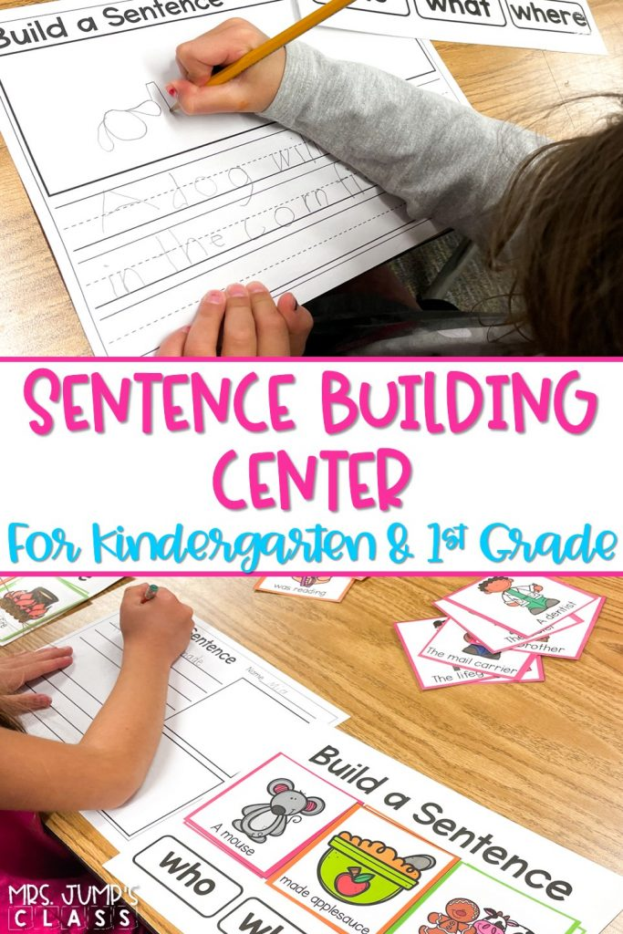 Practice building sentences in kindergarten and 1st grade with this literacy center! Students use the color-coded sentence parts to build and create sentences.