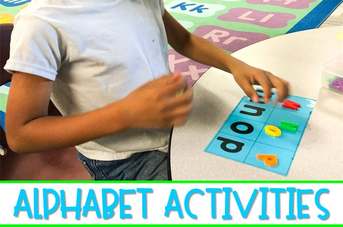 Alphabet activities for kindergarten to develop recognition skills and fluency! Hands-on and engaging tasks to get students excited about letters!