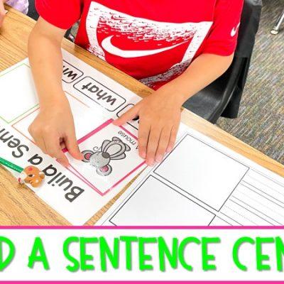 Classroom Center for Building Sentences in Kindergarten and First Grade